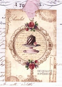 French Gift Tags Chocolate Pastry by Bluebird Lane