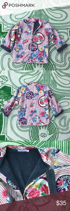 """Lucky Wang NYC Jacket Girls Modern and unique girls jacket. Long sleeve with snap closure and fleece lined. Japanese inspired flower pattern make this coat unique! In excellent used condition with no issues. 14.5"""" underarm to underarm and 18.5"""" L lucky wang nyc Jackets & Coats"""