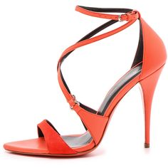 Narciso Rodriguez Ava Strappy Sandals ($220) ❤ liked on Polyvore featuring shoes, sandals, heels, leather heel sandals, leather sole shoes, sexy strappy shoes, buckle sandals and buckle shoes