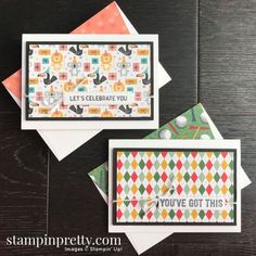 Birthday Bonanza & Country Club Designer Series Paper by Stampin\' Up! Note Card by Mary Fish, Stampin\' Pretty Stampin Pretty, Stampin Up, 50th Birthday Cards, Diy Birthday, Mary Fish, Scrapbook Designs, Scrapbook Patterns, Bird Cards, Card Envelopes