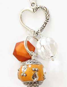 ** Interchangeable Orange Bead, Bauble Dangle, Hanging Crystal, & Heart Charm Beaded Necklace @eight9designs
