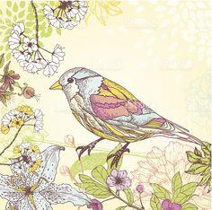 Весна птица Сток Вектор Стоковая фотография