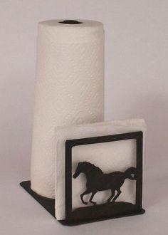 Iron Running Horse Short Paper Towel/Napkin Holder