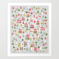 Happy Holidays Pattern Art Print