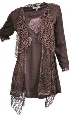 Pretty Angel Clothing Ladies Dressy Knit Top In Coffee