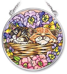Amia 5482 Hand Painted Glass Suncatcher with Cat Design, 3-1/2-Inch Circle by Amia. $10.00. Includes chain. Comes boxed, makes for a great gift. Handpainted glass. Amia glass is a top selling line of handpainted glass decor. Known for tying in rich colors and excellent designs, Amia has a full line of handpainted glass pieces to satisfy your decor needs. Items in the line range from suncatchers, window decor panels, vases, votives and much more.