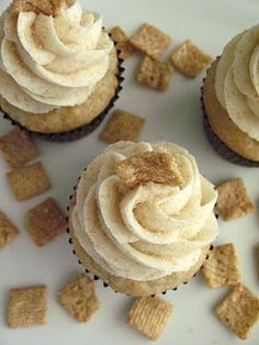 cinnamon toast crunch cupcakes -- from Lizzy Early @ Your Cup of Cake. She makes TONS of great things and is in the comms major with me at BYU.