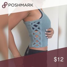 NEW Blue STRAPPY top NEW Blue top stretch color blue Length 17 inches. Size SMALL Tops Crop Tops