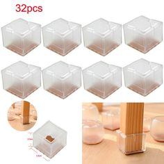 32 X Square Silicone Chair Leg Caps Feet Pads Table Covers Wood Floor Protectors Unbranded