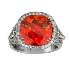 Mandarine Spessartite Garnet and Diamond Ring