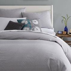 Tile Style Duvet Cover + Shams - Feather Gray #westelm - $99 duvet cover, $19 standard sham