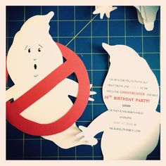"What a great idea for DIY Ghostbusters themed party invites. Make ghost with ghost template add facial expression, write details on back and cut out ""no"" symbol from construction paper. Once done slot ghost inside to make Ghostbusters emblem"