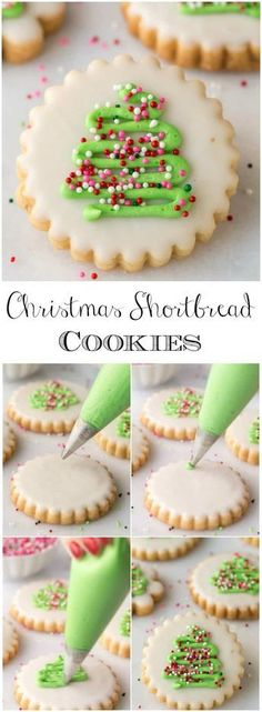 Christmas shortbread cookies with icing. With a super simple decorating technique, these fun, festive and super delicious Christmas Shortbread Cookies look like they came from a fine baking shop! Christmas Tree Cookies, Christmas Sweets, Christmas Cooking, Holiday Cookies, Holiday Desserts, Holiday Recipes, Christmas Shortbread Cookies, Christmas Parties, Christmas Biscuits