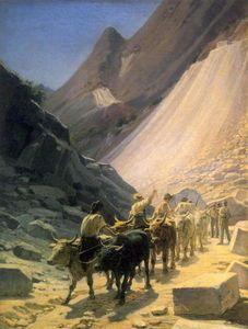 Nikolai Ge - der transport of Marmor bei Carrara