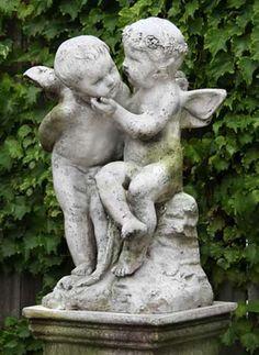 Cherub with Flute Outdoor Religious Garden Statue Statuary Made of
