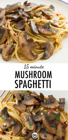 Everyone needs a good garlic mushroom pasta recipe! It's a perfect quick and easy dinner, packed with amazing flavor and vegan. #15minutemeals #easydinnerrecipes #pastarecipes #mushroomrecipes #spaghettirecipes #vegetarianrecipes #veganrecipes #cheapmeals #healthydinnerrecipes #quickdinnerideas Spaghetti Recipes, Pasta Recipes, Cooking Recipes, Noodle Recipes, Kitchen Recipes, Meat Recipes, Chicken Recipes, Garlic Mushrooms, Stuffed Mushrooms