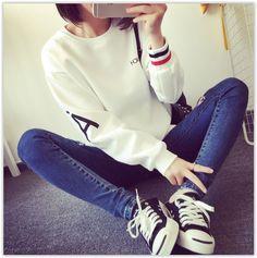 Century Girl - Letter Fleece-lined Sweatshirt