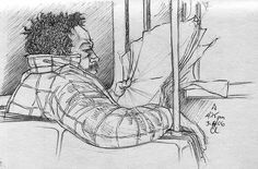 A Line: Sketch Portraits From The New York City Subway by Cully Long. Bus Drawing, Joy Art, What To Draw, Doodle Coloring, Artist Sketchbook, Sketch Pad, Lost & Found, Sketches, Drawings