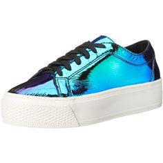 LOEFFLER RANDALL Women's Miko Iridescent Leather Fashion Sneaker ($106) ❤ liked on Polyvore featuring shoes, sneakers, leather trainers, loeffler randall shoes, platform trainers, laced shoes and iridescent shoes