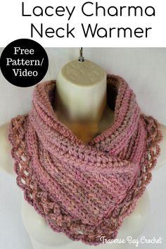 Crochet Lacey Charma Neck Warmer - free crochet neck warmer scarf pattern Knitting TechniquesCrochet For BeginnersCrochet PatternsCrochet Scarf Crochet Scarves, Crochet Shawl, Crochet Clothes, Crochet Stitches, Crochet Hooks, Knit Crochet, Knit Cowl, Crochet Granny, Crotchet