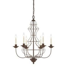"""Cast a warm glow in your entryway or den with this lovely chandelier, showcasing an openwork base and antique bronze finish.        Product: Chandelier  Construction Material: Steel  Color: Antique bronze  Features: CUL listed  Accommodates: (6) 60 Watt B10 candelabra bulbs - not included  Dimensions: 30"""" H x 25"""" Diameter"""