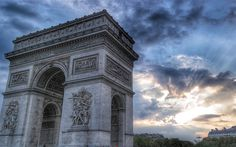 Download wallpapers Triumphal Arch, sunset, evening, french landmarks, Paris, France, Europe