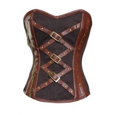 CD-612 Brown Corset with Faux Leather Criss Cross Detailing.