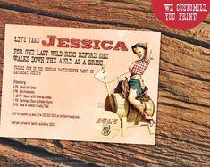 Last ride invitation / pin up cowgirl invitation / cowgirl bachelorette invite / last bash in Nash invite / Nasvhille bachelorette invite