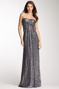 La Femme Strapless Sequin Gown on HauteLook