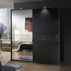 Medeira Sliding Wardrobe In Anthracite Grey With 1 Mirrored Door