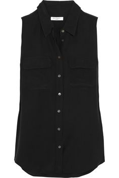 Equipment|Slim Signature washed-silk top|NET-A-PORTER.COM (I can never have too many sleeveless silk shirts...)