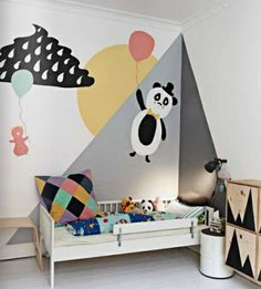 funny nursery room wall painting ideas geometric pattern sketch