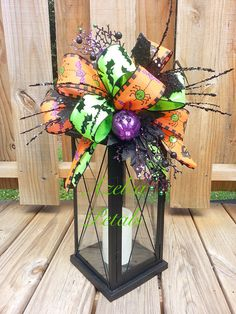 Halloween Lantern Swag, Bats Cats and Spiders Swag, Spooky Floral Arrangement, Halloween Candle Decor, Fall Centerpiece, Pumpkin Holiday ~ LOVE!