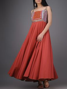 Buy Red Multicolor Embroidered Cotton Dress with Mirror Work Women Dresses Boho Vibes classic silver earrings and vintage wool bags Online at Jaypore.com