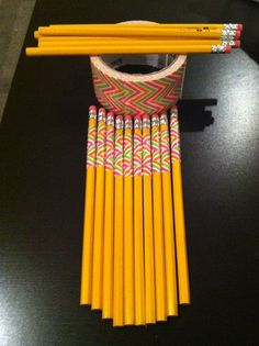 Decorative duct tape wrapped pencils: teachers I did my student teaching did this grade) changed classes. Different tape for each teachers homeroom. Classroom Hacks, Classroom Organisation, New Classroom, Teacher Organization, Classroom Setup, Teacher Tools, Teacher Hacks, Classroom Design, Classroom Management