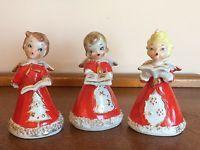 Rare set of vtg Kreiss Christmas caroler angel bells Japan