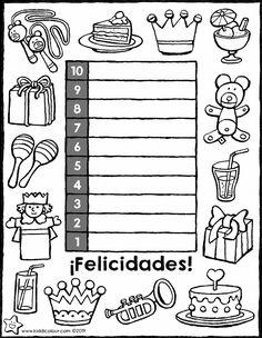 cuenta atrás para tu cumpleaños - dibujo - dibujo para colorear - lámina para colorear Birthday Coloring Pages, Easy Coloring Pages, Coloring Pages To Print, It's Your Birthday, Birthday Parties, Rain Fall Down, Countdown Calendar, Pictures To Draw, Fairy Tales