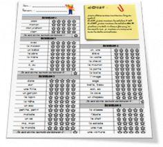 liste des mots à savoir en CP CE1 mais présenter avec échelon, chacun progresse à son rythme