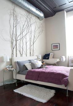 schlafzimmer birken ste zweige dekoration - Schlafzimmer Gestalten Romantisch