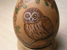 Gourd Ornament Christmas owl Pyrography Ornament by TheWildCrone