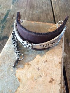 Leather Bracelet with Vintage Spoon Handle Stamped with BELIEVE