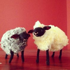 sheep made from an old hat, slipper and wool felt Phoebe Wahl 2013