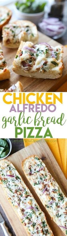 Chicken Alfredo Garlic Bread Pizza is a quick and easy dinner with loads of flavor! Pick up a loaf of French bread and make this tonight! @ChefShamy #ad