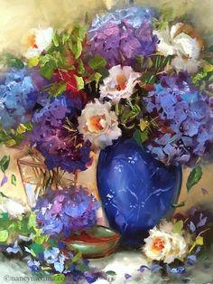 California Dreaming Hydrangeas and a San Diego Workshop - Flower Paintings by Nancy Medina