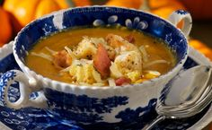 Pumpkin Soup with Sage Croutons, Bacon and Gruyere Cheese More