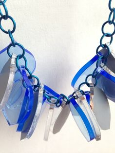 Chunky Lemon Necklace – Fluo blue and mirror – Laser Cut £35.00