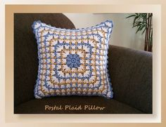 Postal Plaid Pillow By Cylinda D. Mathews - Free Crochet Pattern - (crochetmemories)