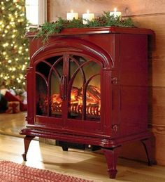 Portable Woodburning-Style Electric Stove - I miss having a woodstove AND It would look so cute in my apartment.