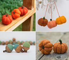 Felted Pumpkins & Acorns