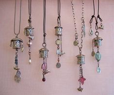 6 birdhouse pendants